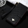 Prada Print Flip Leather Case Universal Holster Skin for iPhone X Rope Cover - Black