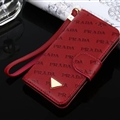 Prada Print Flip Leather Case Universal Holster Skin for iPhone X Rope Cover - Wine Red