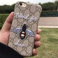 Unique Embroidery Bees Gucci Pattern Leather Case Hard Back Cover for iPhone X - Brown