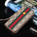 Gucci Embroidery Bees Flip Leather Cases Holster for iPhone 7 Rope Cover - Brown Green