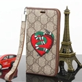 Gucci Embroidery Snake Flip Leather Cases Holster for iPhone 7 Rope Cover - Brown Red