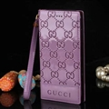 Gucci Print Flip Leather Case Universal Holster Skin for iPhone 7 Rope Cover - Purple