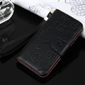 Hermes Print Flip Leather Case Universal Holster Skin for iPhone 7 Rope Cover - Black