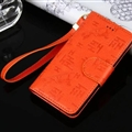 Hermes Print Flip Leather Case Universal Holster Skin for iPhone 7 Rope Cover - Orange