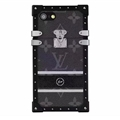 Lightning Stars Style LV Flower Pattern Metal Leather Cases For iPhone 7 Louis Vuitton Cover - Black