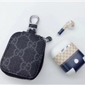 Classic Gucci Lattice Genuine Leather Wallet Car Key Cover Case AirPods Bags - Black