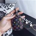 Classic LV Flower Genuine Leather Wallet Car Key Cover Case AirPods Bags - Black