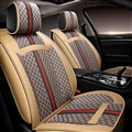 Classic Leather GUCCI Print Car Seat Covers Universal Pads Automobile Seat Cushions 6pcs - Beige