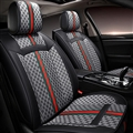 Classic Leather GUCCI Print Car Seat Covers Universal Pads Automobile Seat Cushions 6pcs - Black Grey