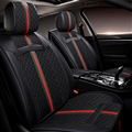 Classic Leather GUCCI Print Car Seat Covers Universal Pads Automobile Seat Cushions 6pcs - Black
