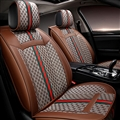 Classic Leather GUCCI Print Car Seat Covers Universal Pads Automobile Seat Cushions 6pcs - Brown