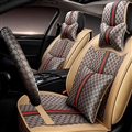 Funky Leather GUCCI Print Car Seat Covers Universal Pads Automobile Seat Cushions 11pcs - Beige