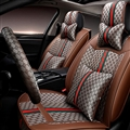 Funky Leather GUCCI Print Car Seat Covers Universal Pads Automobile Seat Cushions 11pcs - Brown
