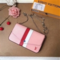 M62982 LV Crossbody Leather Bags Womens Chains Fashion Ladies Striped Hasp Bags - Pink