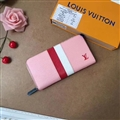 M62983 LV Clutches Leather Bags Womens Wallets Fashion Ladies Striped Handbag - Pink