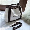 Patchwork Balenciaga Top-Handle Bags Canvas + Leather Womens Open Crossbody Letter Bags - White