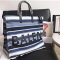 Unique Patchwork Balenciaga Top-Handle Bags Canvas + Leather Mens Zipper Letter Bags - Blue