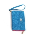 Chanel Flower Pattern Flip Leather Case Holder Wallet Universal Bag Cover for iPhone XS - Blue