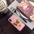 Classic Butterfly Gucci Leather Hanging Rope Covers Metal Cases For iPhone XS - Pink