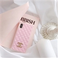 Classic Chanel Faux Leather Lanyards Cases Shell For iPhone XS Silicone Covers - Pink