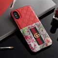 Classic Coloured Ribbon Gucci Leather Back Covers Holster Cases For iPhone XS - Red