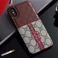 Classic Coloured Ribbon Gucci Leather Back Covers Snake Cases For iPhone XS - Brown