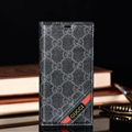 Classic Gucci Lattice Plaid Bracket Leather Holder Covers Support Cases For iPhone XS - Black