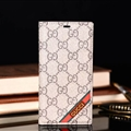 Classic Gucci Lattice Plaid Bracket Leather Holder Covers Support Cases For iPhone XS - Brown