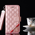 Classic Gucci Lattice Plaid Bracket Leather Holder Covers Support Cases For iPhone XS - Pink