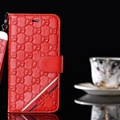 Classic Gucci Lattice Plaid Bracket Leather Holder Covers Support Cases For iPhone XS - Red