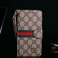 Classic Gucci Lattice Plaid Flip Leather Covers Folder Holster Cases For iPhone XS - Brown