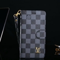 Classic LV Lattice Plaid Flip Leather Covers Folder Holster Cases For iPhone XS - Black