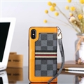 Classic LV Lattice Plaid Leather Covers Metal Holster Cases For iPhone XS - Black