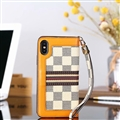 Classic LV Lattice Plaid Leather Covers Metal Holster Cases For iPhone XS - White