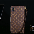 Classic LV Small Flower Flip Leather Covers Folder Holster Cases For iPhone XS - Brown