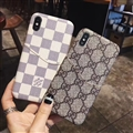 Classic Lattice Casing Gucci Leather Back Covers Holster Cases For iPhone XS - Gray