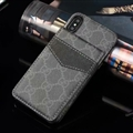 Classic Lattice Gucci Leather Back Covers Holster Cases For iPhone XS - Black