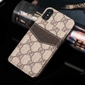 Classic Lattice Gucci Leather Back Covers Holster Cases For iPhone XS - Brown