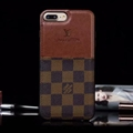 Classic Lattice LV Genuine Leather Back Covers Holster Cases For iPhone XS - Brown