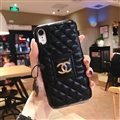 Classic Lattices Chanel Leather Hanging Rope Covers Metal Cases For iPhone XS - Black