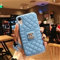 Classic Lattices Chanel Leather Hanging Rope Covers Metal Cases For iPhone XS - Blue
