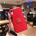 Classic Lattices Chanel Leather Hanging Rope Covers Metal Cases For iPhone XS - Red