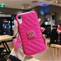 Classic Lattices Chanel Leather Hanging Rope Covers Metal Cases For iPhone XS - Rose