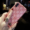 Classic Plaid Gucci Leather Back Covers Holster Cases For iPhone XS - Pink