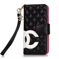 Classic Sheepskin Chanel folder leather Case Book Flip Holster Cover for iPhone XS - Black White