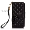 Classic Sheepskin Chanel folder leather Case Book Flip Holster Cover for iPhone XS - Black