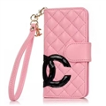 Classic Sheepskin Chanel folder leather Case Book Flip Holster Cover for iPhone XS - Pink
