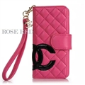 Classic Sheepskin Chanel folder leather Case Book Flip Holster Cover for iPhone XS - Rose