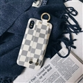 Classic Shell LV Plaid Leather Back Covers Holster Cases For iPhone XS - White