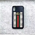 Classic Stripe Gucci Leather Back Covers Metal Cases For iPhone XS - Black